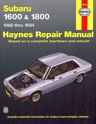 manual repair autos 1994 subaru loyale engine control subaru 1600 1800 brat xt loyale repair manual 1980 1994 haynes