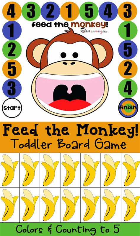 printable toddler games free board game for toddlers and prek feed the monkey