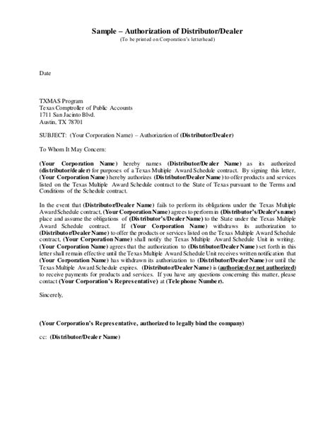 Authorization Letter Of Distribution Authorizationof Distributor Dealer