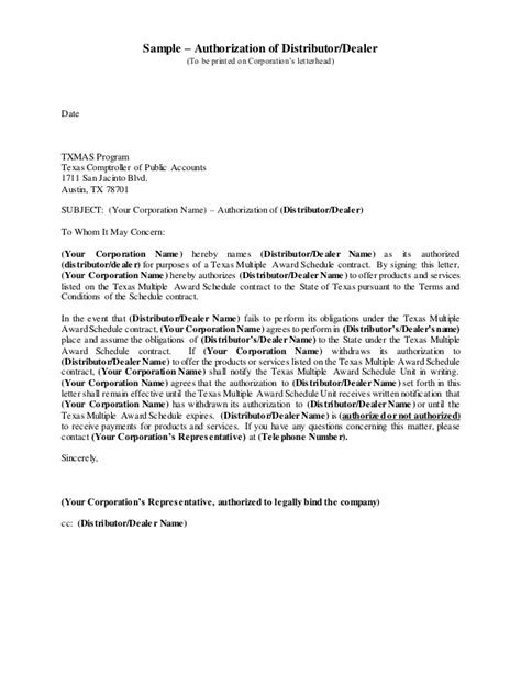 Sample letter of distributor authorization uwityotrouwityotro altavistaventures Image collections