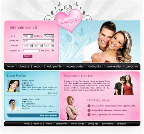 Love Meter Xhtml Template 5668 Love Dating Website Templates Dreamtemplate Dating Website Template