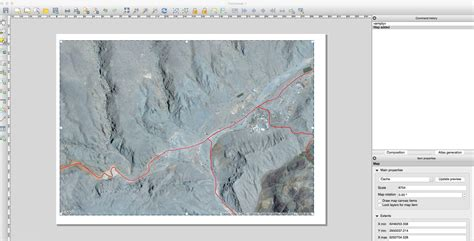create layout qgis projection problem to create composer with open layer