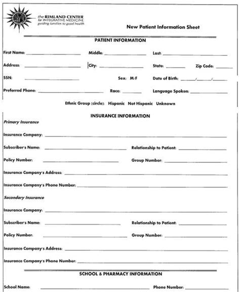 patient information template patient information form template 28 images new