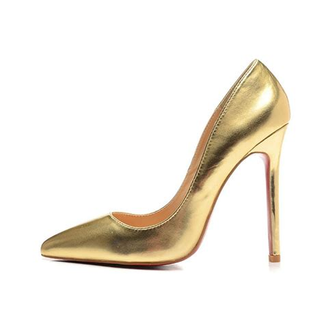 bronze high heels fashion brand golds shoes metallic leather pointed