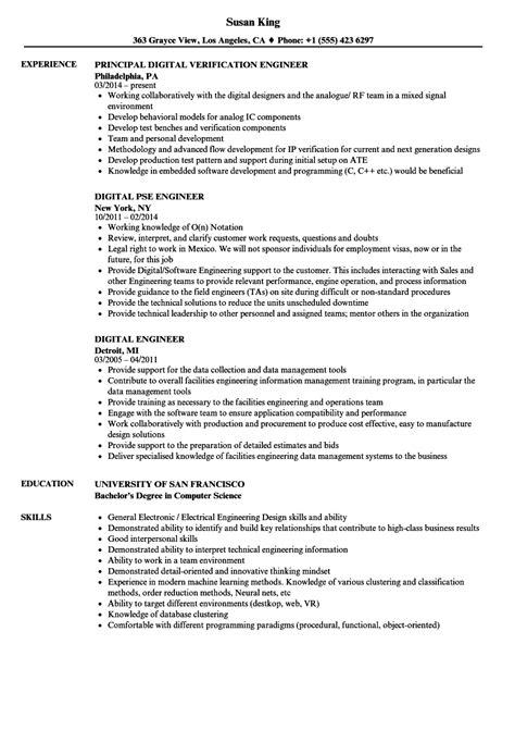 digital engineer resume sles velvet jobs