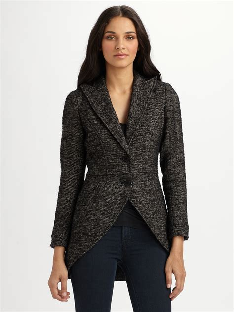 riding jacket for smythe tweed riding jacket in gray black tweed lyst