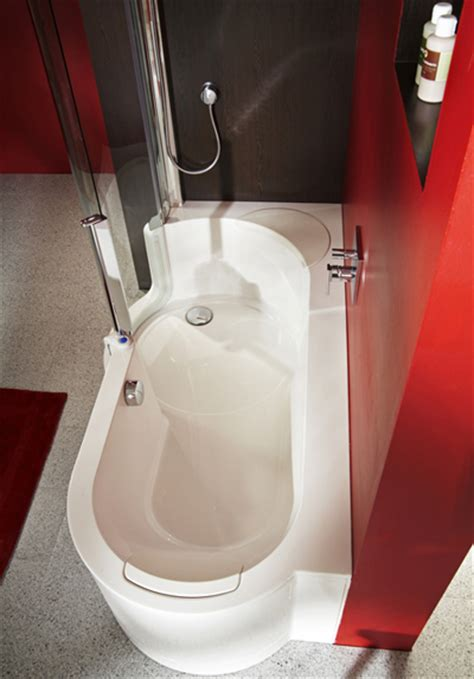 modern bathtubs for small spaces twinline showers modern tub shower for small space from
