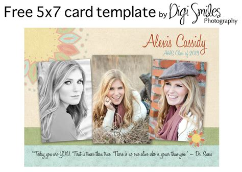 Free Card Template For Photoshop Drop In Your Photos And Text 187 Digi Smiles Photography Free Card Templates For Photoshop