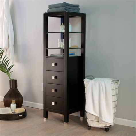 wood bathroom storage cabinet with top glass shelves above drawer and painted with