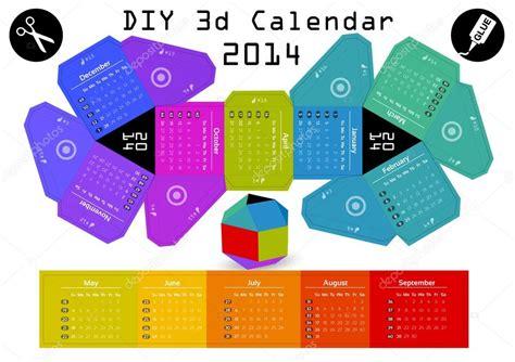 Papercraft Calendar - 3d bricolage calendrier 2014 image vectorielle robolab