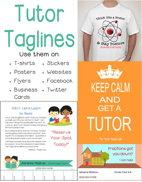 Tutor Tag Lines Marketing Tool The Tutor Coach Tutoring Flyer Template Sle