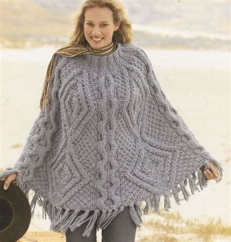 free aran cable knitting patterns mega chunky cable aran poncho vintage