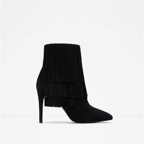 zara fringed leather ankle boots in black lyst