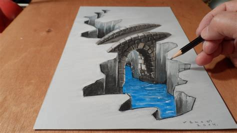 How To Make 3d Drawing On Paper - how to draw bridge drawing 3d bridge trick
