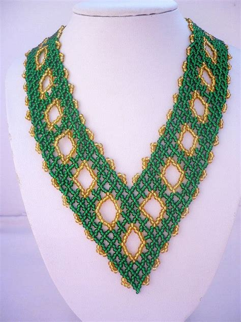 beadwork green emerald green gold color beadwork necklace seed beaded