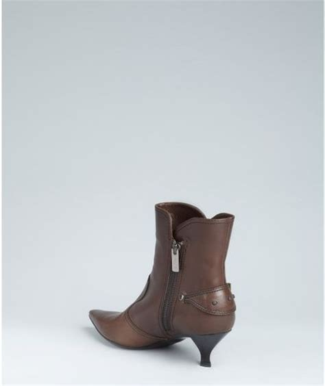 tod s coffee leather kitten heel ankle boots in brown