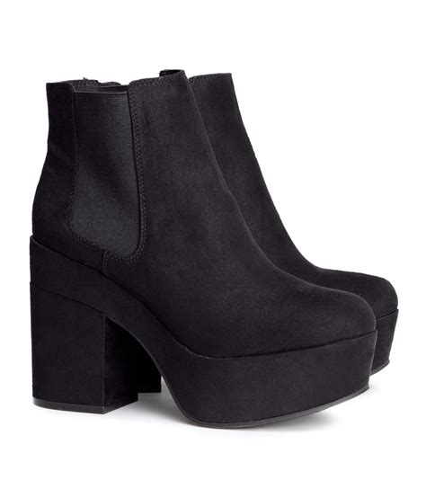m and s shoes lyst h m platform boots in black
