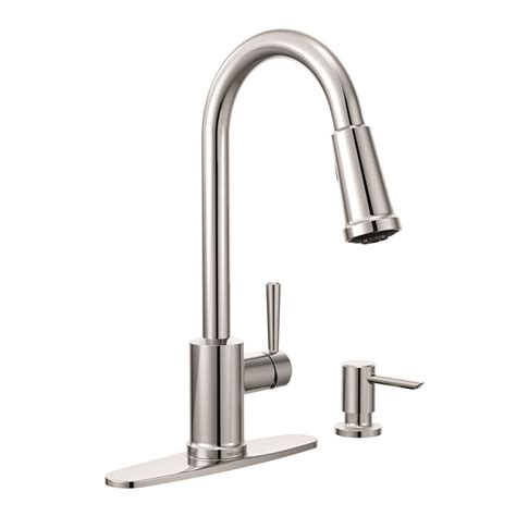 moen kitchen faucet with soap dispenser moen indi 1 handle pulldown kitchen faucet with soap