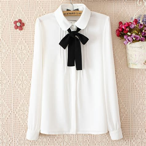 Sweet Bow Blouse Black White Size L 19052 korean students sweet bow chiffon blouse 183 fashion kawaii japan korea 183 store powered