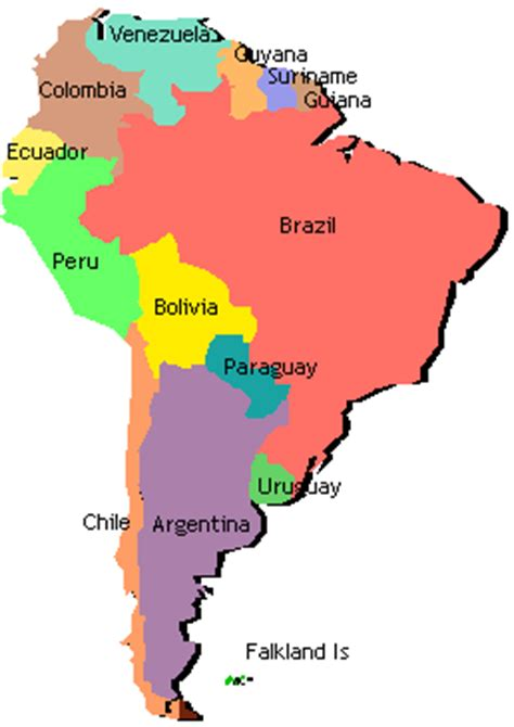 map of south american countries labeled south america map clipart best