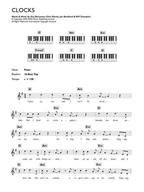Clocks sheet music by Coldplay (Keyboard – 45490)