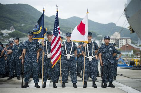 navy color guard uss tortuga uss ashland hull with ceremony