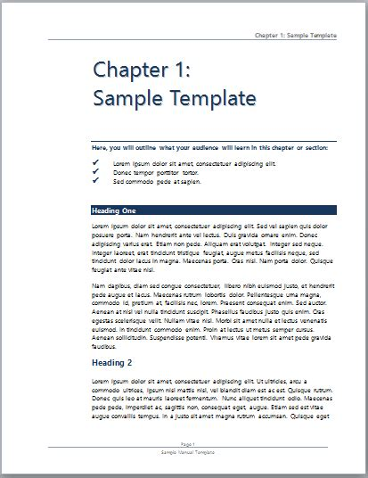 free user manual templates word template section