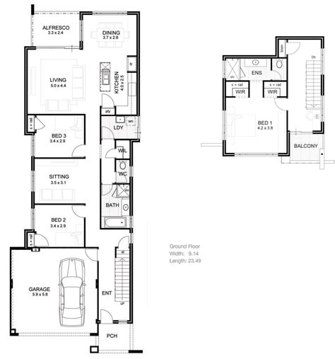 narrow floor plans lake house plans narrow lot brucall