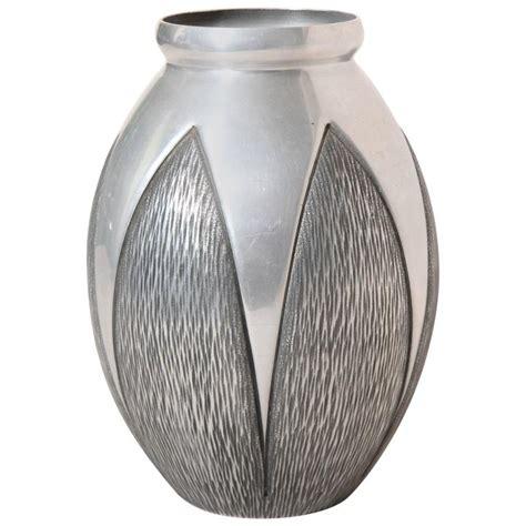 Aluminum Vases by Rene Delavan Deco Hammered Aluminum Vase