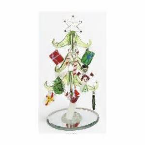 mini glass christmas tree w ornaments glass christmas