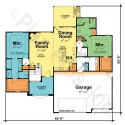 one story floor plans with two master suites dual master or owner bedroom suite home plans design basics