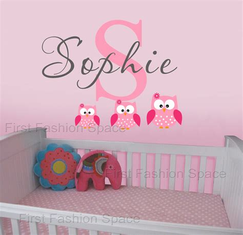 childrens personalised wall stickers owls wall decals personalized name vinyl wall sticker
