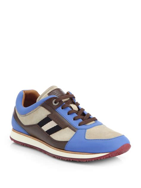mens bally sneakers bally colorblock sneakers in blue for lyst