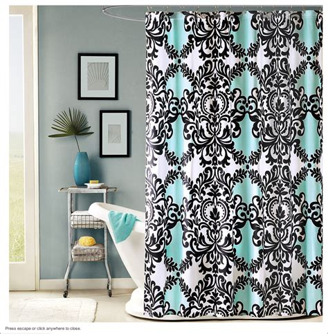 teal colored shower curtains the black white and teal shower curtain home