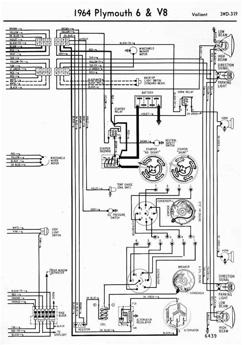 Wiring Diagrams Of 1964 Plymouth 6 And V8 Valiant Part 2