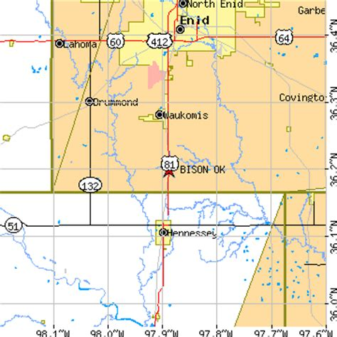 hennessey ok zip code bison oklahoma ok population data races housing