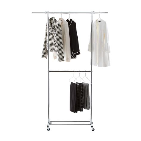 chrome clothes rack clothes rack chrome metal double hang clothes rack the container store