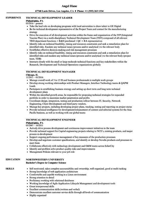Resume R D by Technical Development Resume Sles Velvet
