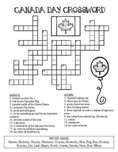 printable puzzle of canada crossword canada 1 across a french speaking province