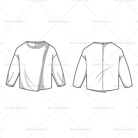 Women S Asymmetrical Dolman Blouse Fashion Flat Template Illustrator Stuff Fashion Flats Template