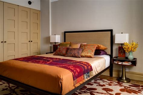 orange and gold bedroom harmonious interior design by blending two different