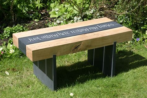oak garden benches welsh slate and oak garden bench martin cook studio