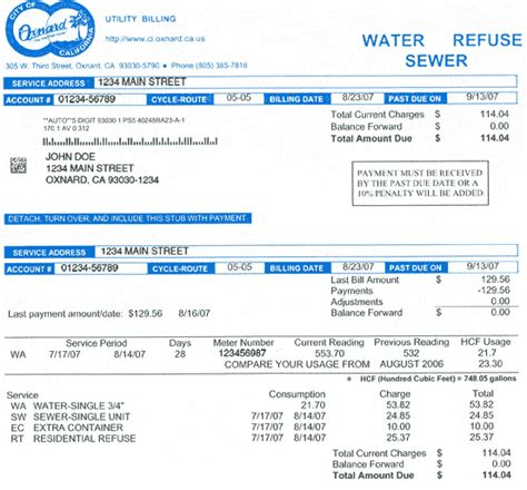 water bill template utility bill how to read your utility bill city of oxnard