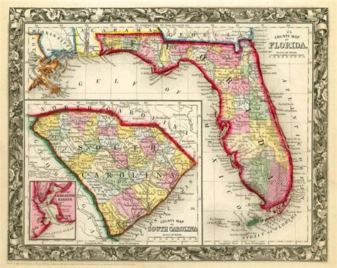 map of south carolina and florida vintage state map of florida and south carolina 1860 print