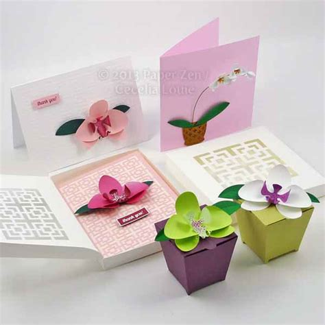paper cutting card orchid template 3d paper orchid cards and gift box on behance