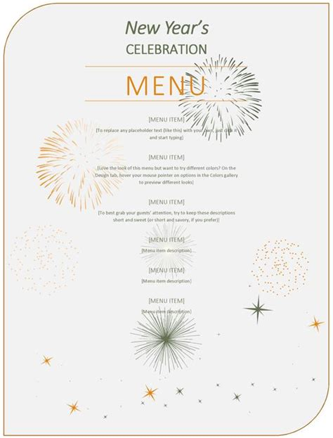 new year menu menu new year templates merry happy new year