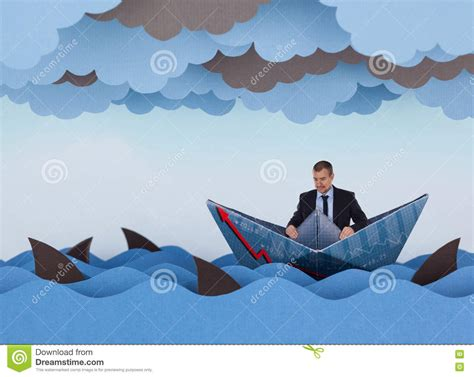 sinking boat surrounded by sharks businessman surrounded by sharks royalty free stock image