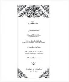 Menu Template Doc by Wedding Menu Template 24 In Pdf Psd Word