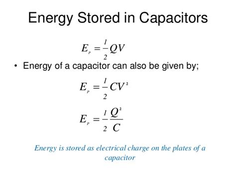 capacitor stored energy equation capacitors