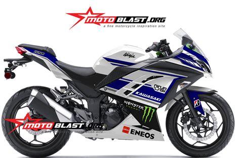 Spakbor Depan Spin Blue modif striping kawasaki 250r fi white motogp blue motoblast